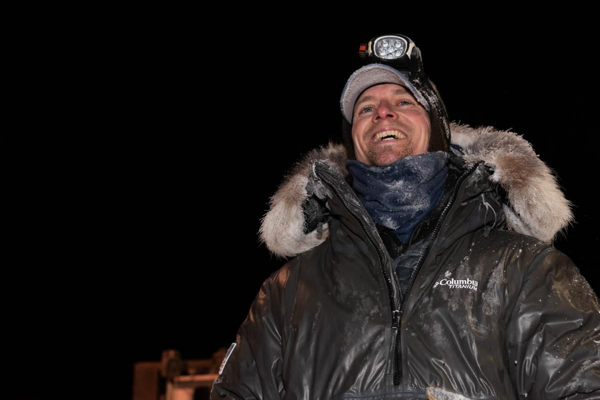 Matthew Failor arrives in Bethel as the winner of the 2019 Kuskokwim 300. (KATIE BASILE / KYUK)