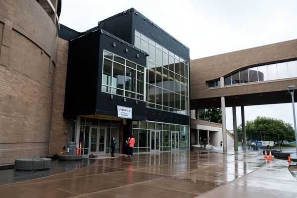Renovations and reorganization at Loussac Library include a new main entrance and atrium, a relocated cafe and the circulation desk moving to the ground level. (Young Kim / Alaska Dispatch News)