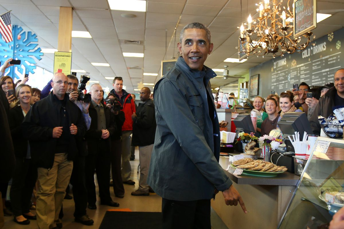 President Barack Obama stopped at Snow City Cafe in Anchorage before his trip to Seward on Tuesday Aug. 1, 2015, and he ordered all of the cinnamon rolls at the cafe.