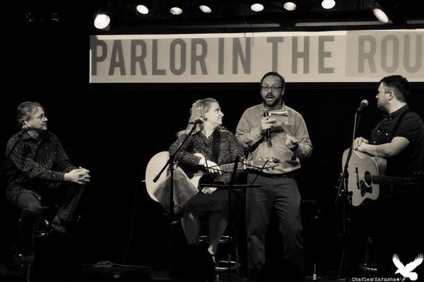 Host and Producer Kevin Worrell mugs with April Parlor artists Tom Begich, Jenny Baker and Jared Woods (left to right)