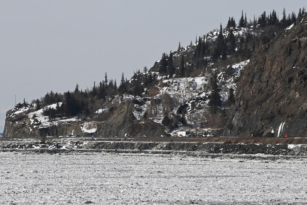 View of rockfall mitigation site at MP 111.5 of the Seward Highway from Beluga Point on Tuesday. (Bill Roth / ADN)