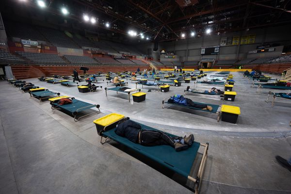 Clients make use of the new space in the Sullivan Arena, Sat. March 21, 2020. (Photo by Matt Waliszek / Bean's Cafe)