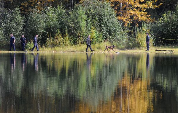 Anchorage police and a K-9 search a wooded area along Cheney Lake after taking Randall Igouinto custody on Monday, Sept. 11, 2017. (Bill Roth / Alaska Dispatch News)