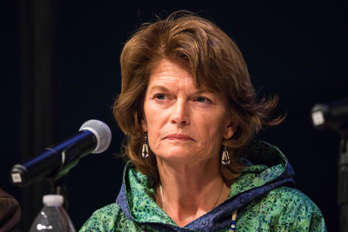 Sen. Lisa Murkowski participates in a candidates forum at the Alaska Federation of Natives convention Friday, Oct. 21, 2016, at the Carlson Center in Fairbanks. (Loren Holmes / Alaska Dispatch News)