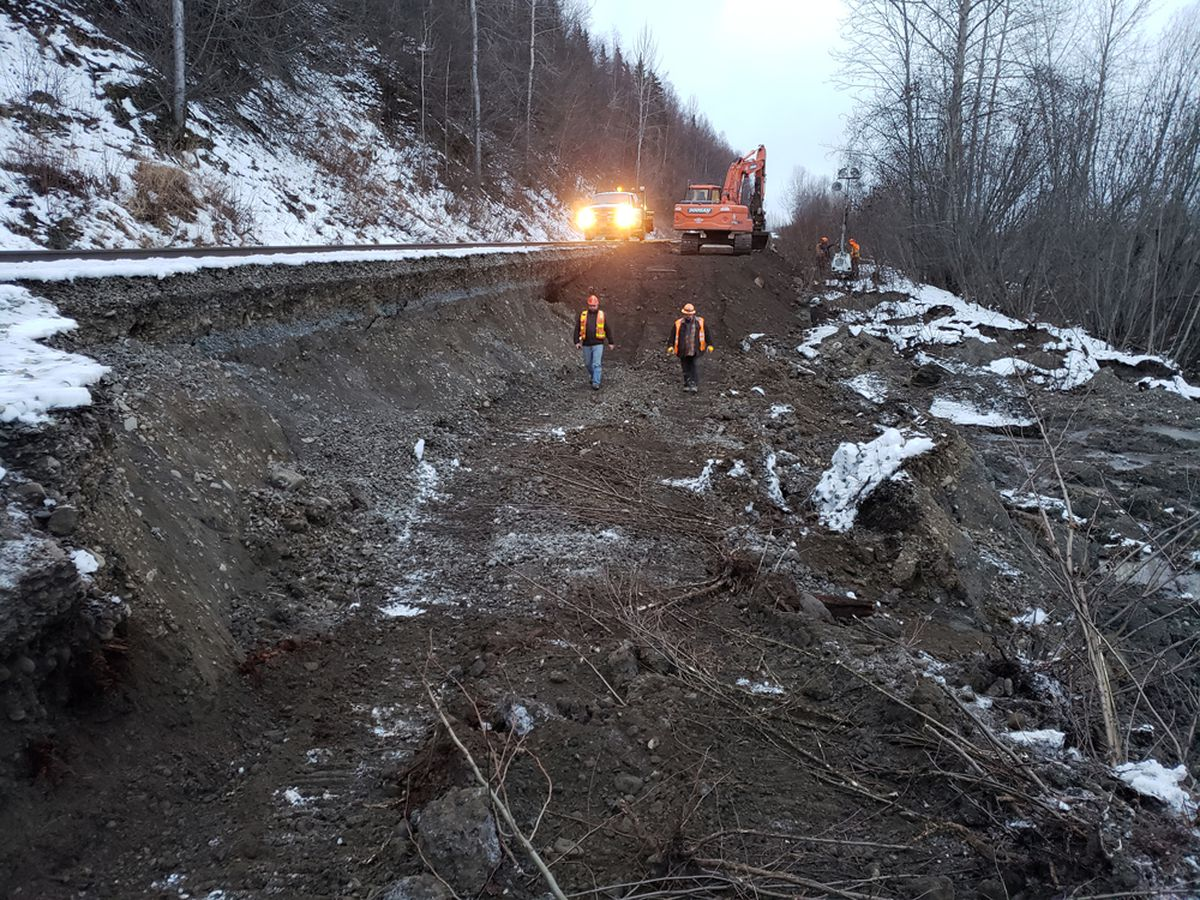 Alaska Railroad crews inspect and repair stretches of track rendered impassable after the Nov. 30 earthquake of 7.0 magnitude that shook Southcentral. Service to Fairbanks suspended immediately after the damage was set to resume Monday, Dec. 3. (Photo/Courtesy/Alaska Railroad Corp.)