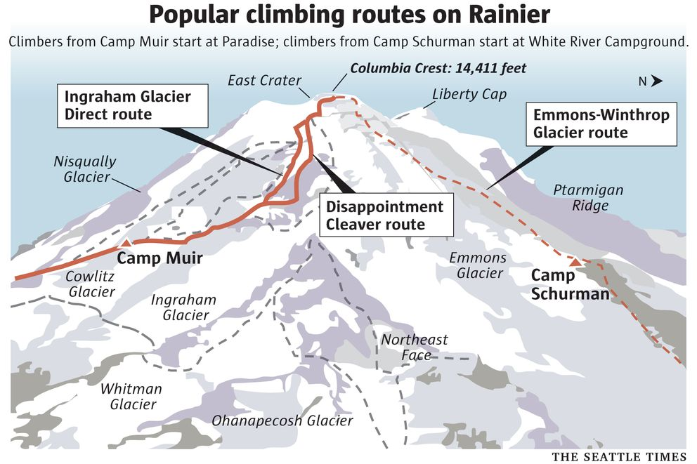 Popular climbing routes on Mount Rainier in Washington. (The Seattle Times)