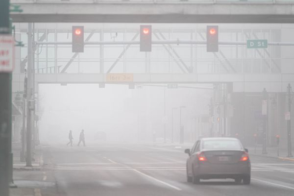 Fog obscures a view of 6th Avenue on Friday, April 17, 2020 in downtown Anchorage. (Loren Holmes / ADN)