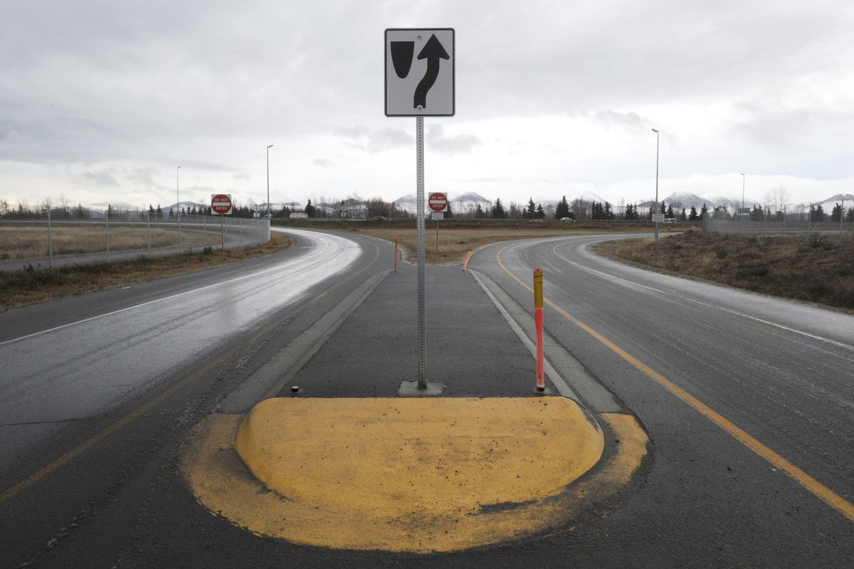 Location of the proposed Seward Highway overpass at Scooter Avenue on Thursday, Nov. 14, 2019. (Bill Roth / ADN)
