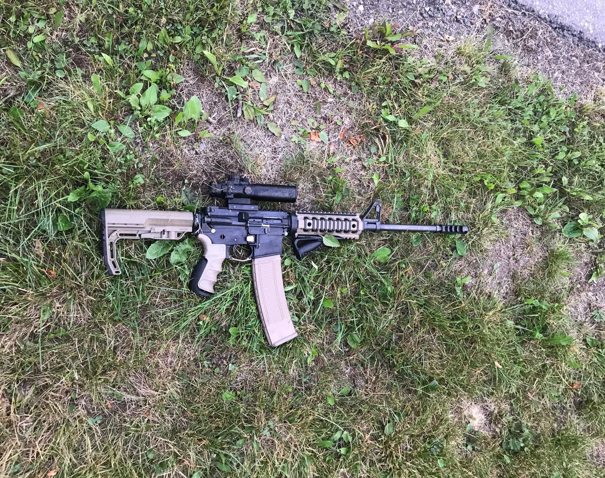 A man walking his dog near Taku Lake in Anchorage on Aug. 6, 2019 found a loaded AR-15. Police said the gun had not been listed as stolen. (Photo by William Thrash.)