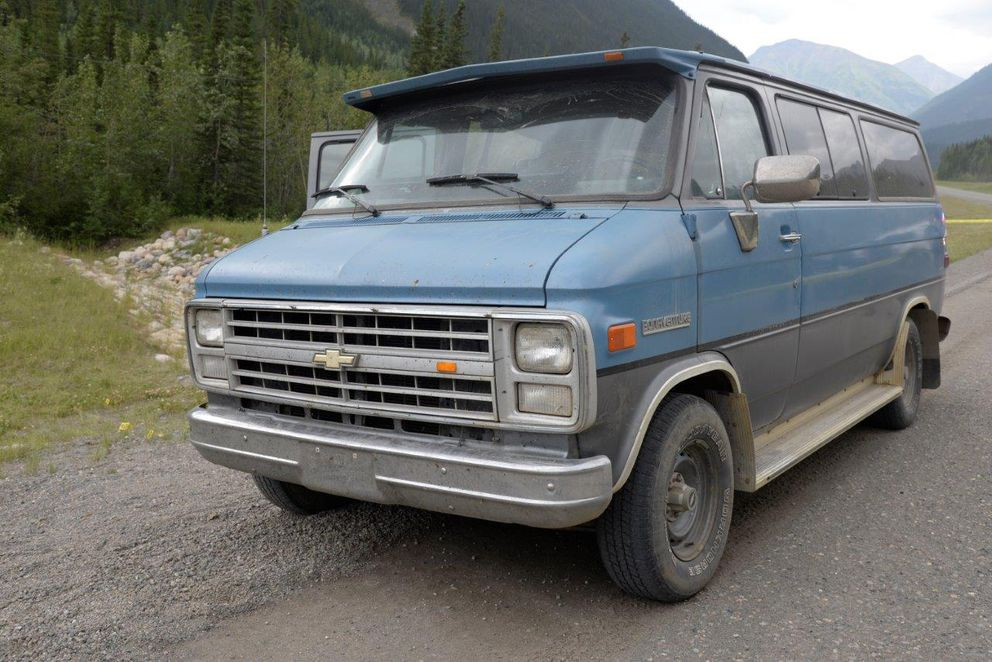 A 1986 Chevrolet van was on the Alaska Highway where Chynna Deese, 24, and Lucas Robertson Fowler, 23, were found dead on July 15, 2019. (Photo courtesy Royal Canadian Mounted Police.)
