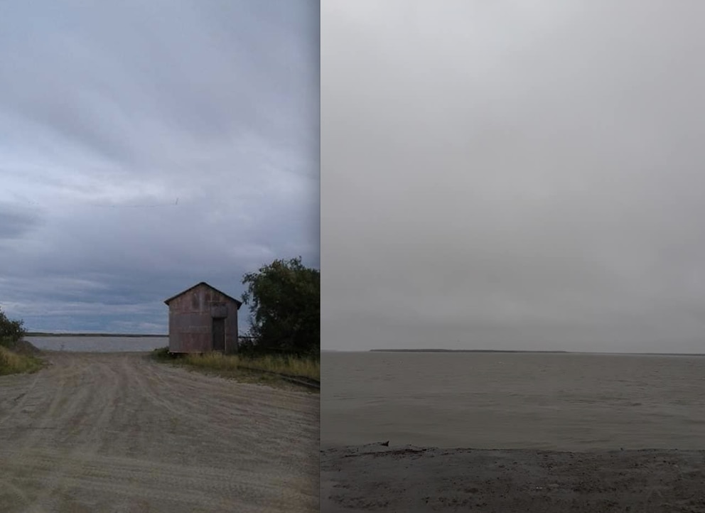 Side-by-side photos, taken from the same location, show the amount of riverbank lost in Napakiak over the past three years, comparing August 2017 to August 4, 2019, following a heavy storm. (Photo by Andrew West via KYUK)