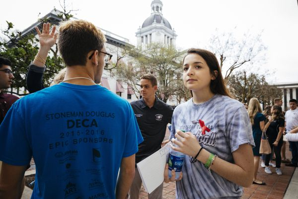 Alandra Gittelson, 16, and other students from Marjory Stoneman Douglas High School stand outside the Florida State Capitol in Tallahassee, waiting to meet with lawmakers, Feb. 21, 2018. Seven days after the mass shooting, Florida's Republican-dominated state government faces unprecedented pressure to pass legislation addressing gun violence. (Audra Melton/The New York Times)