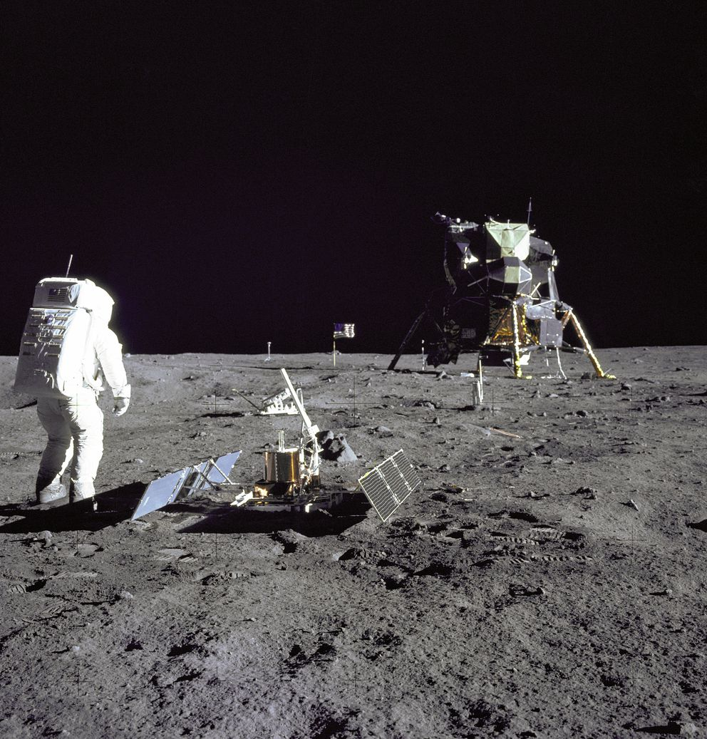 Astronaut Buzz Aldrin looks back at Tranquility Base during the 1969 Apollo 11 moon mission. (Nasa)