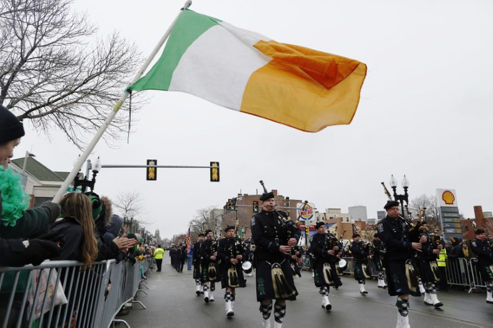 The Boston Police Gaelic Column marches down Broadway during the St. Patrick's Day Parade in South Boston, March 15, 2015. REUTERS/Dominick Reuter