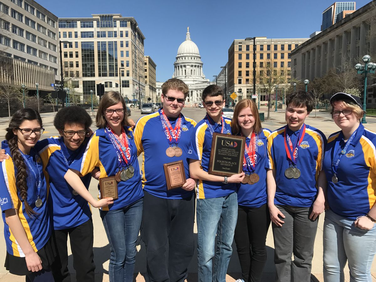The Lathrop High School Academic Decathlon team in Madison, Wis. From left, Camellia Valencia, Tailon Russell, Grace Martin, Darin Cheney, Caelan Gold, Abigail Boyle, Andrew Parker and Daisy Morotti. (Chris Benshoof)
