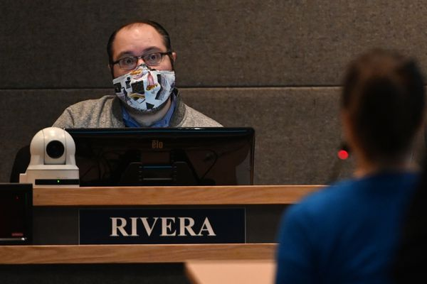 Acting chair Felix Rivera listened to public testimony during a special meeting of the Anchorage Assembly on Monday, Nov. 16, 2020, on a resolution of the Anchorage Assembly for a sixth extension of the Declaration of Civil Emergency issued by the mayor. (Bill Roth / ADN)