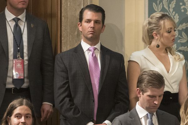 Donald Trump Jr. before President Donald Trump's State of the Union address, at the U.S. Capitol in Washington, Jan. 30, 2018. Trump Jr. said he was eager to receive political dirt about Hillary Clinton from the Russians in emails setting up a meeting between Russians and top Trump campaign officials in 2016, a meeting that has become a focus of Special Counsel Robert Mueller. (Tom Brenner/The New York Times)