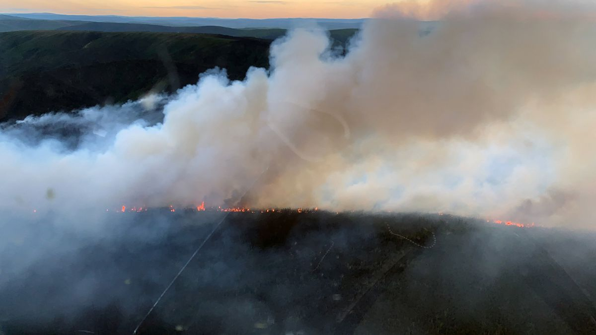 The Isom Creek Fire (#187) burning southeast of the Dalton Highway Yukon River Crossing picked up activity Saturday night June 6, 2020 and created this plume. This photo was taken from a helicopter at 11 p.m. (Photo by Cammy Roy / BLM AFS)
