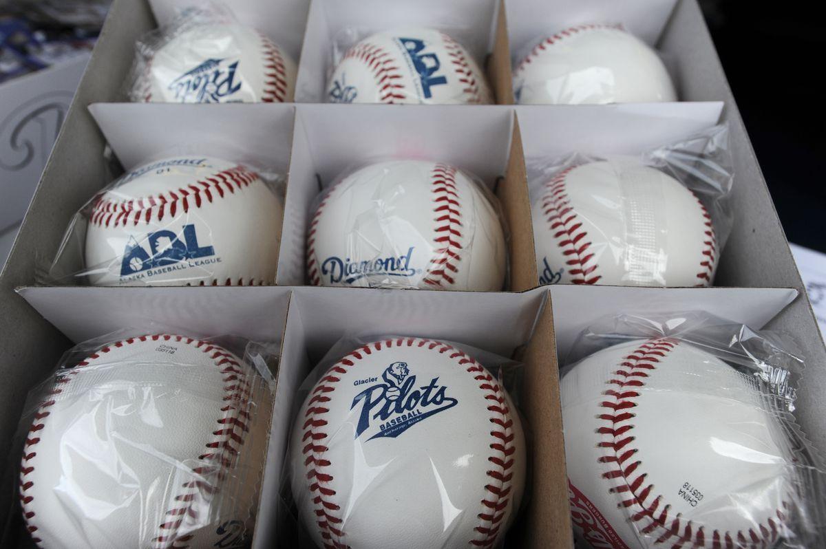 Anchorage Glacier Pilots souvenir baseballs at Mulcahy Stadium on Sunday, June 24, 2018. (Bill Roth / ADN)