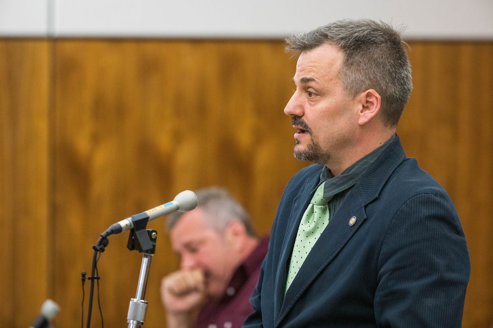 Downtown Anchorage Assemblyman Christopher Constant speaks in support of Ron Alleva during Alleva's sentencing hearing on Tuesday. (Loren Holmes / ADN)