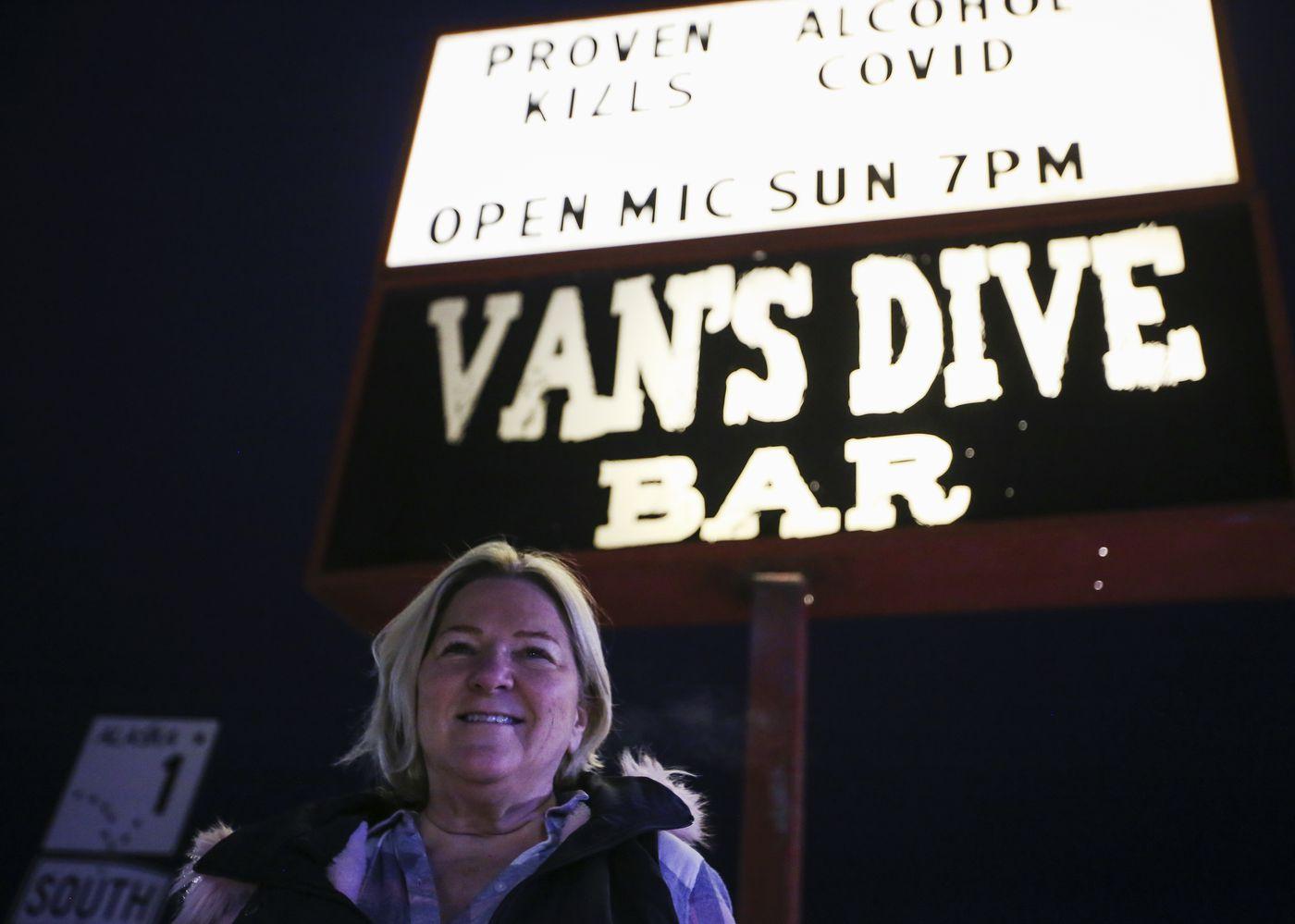 Van's Dive Bar Owner Nicki Hale at the downtown Anchorage bar on Thursday, Jan. 14, 2021. (Emily Mesner / ADN)