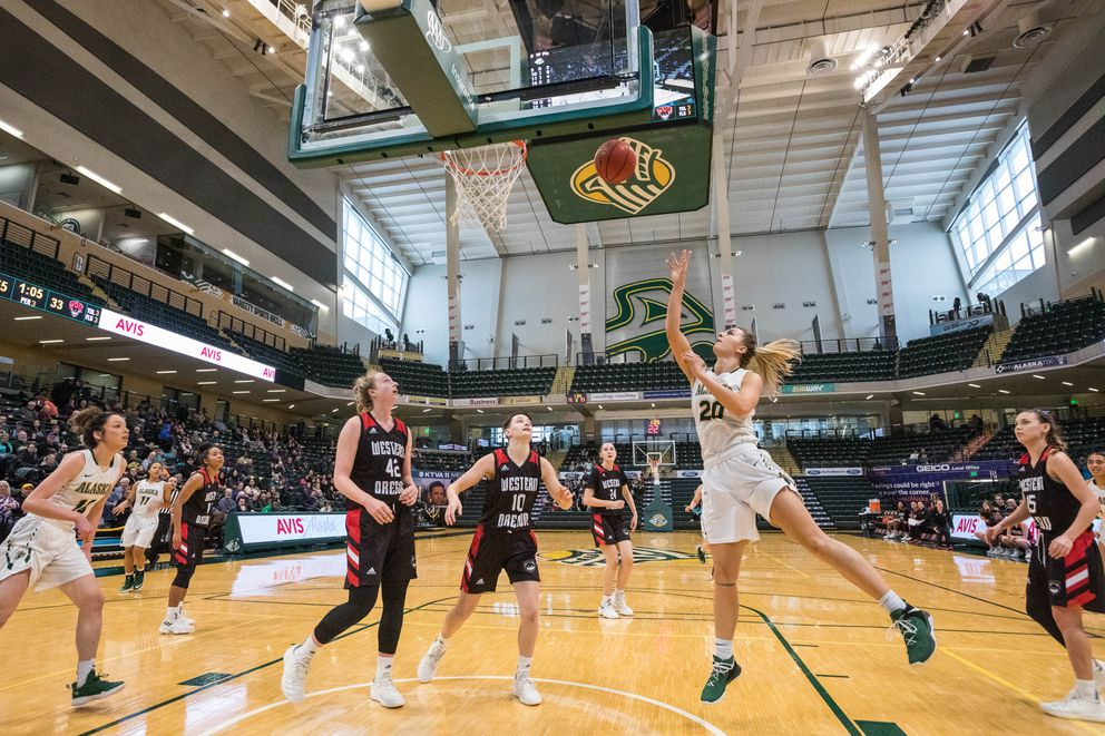 UAA's Hannah Wandersee attempts a layup during a game against Western Oregon on Saturday, Feb. 16, 2019 at the Alaska Airlines Center. UAA won 97-52. (Loren Holmes / ADN)