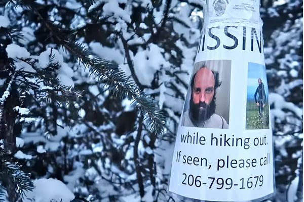 Dmitry Kudryn and two Alaska State Troopers rode snowmachines to the cabin where Kostenko was last seen, hanging missing posters. The Purches Creek Valley area is popular with snowmachiners in the winter. (Dmitry Kudryn photo)