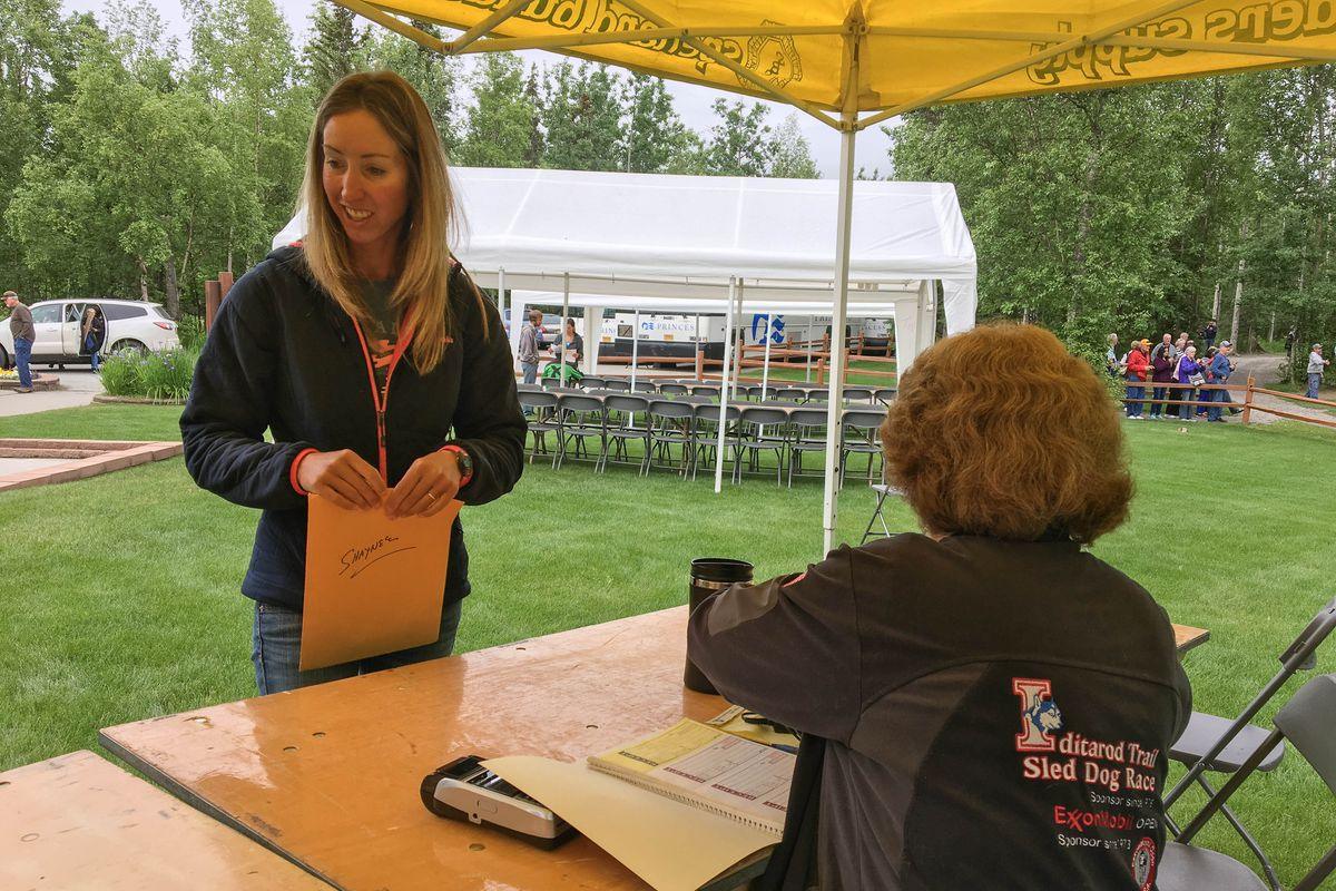 Shaynee Traska, a rookie from Two Rivers, was the first musher to sign up for the 2018 Iditarod Saturday in Wasilla. (Tegan Hanlon / Alaska Dispatch News)