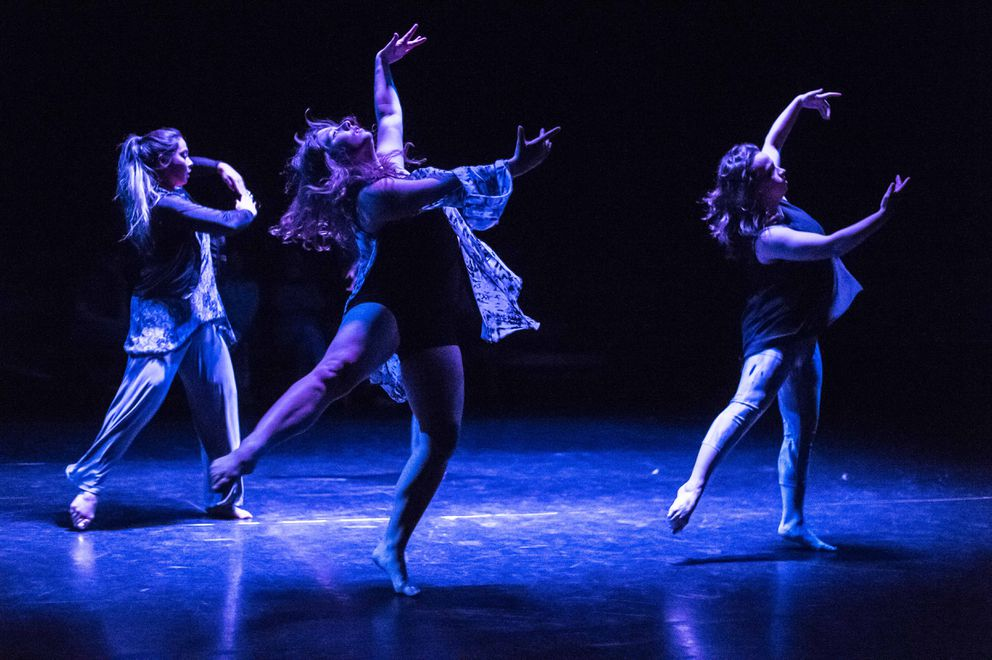 Katie OLoughlin, Oliva Meneses, Samantha Crosby perform in UAA Dance in Performance 2016. (Photo courtesy UAA)