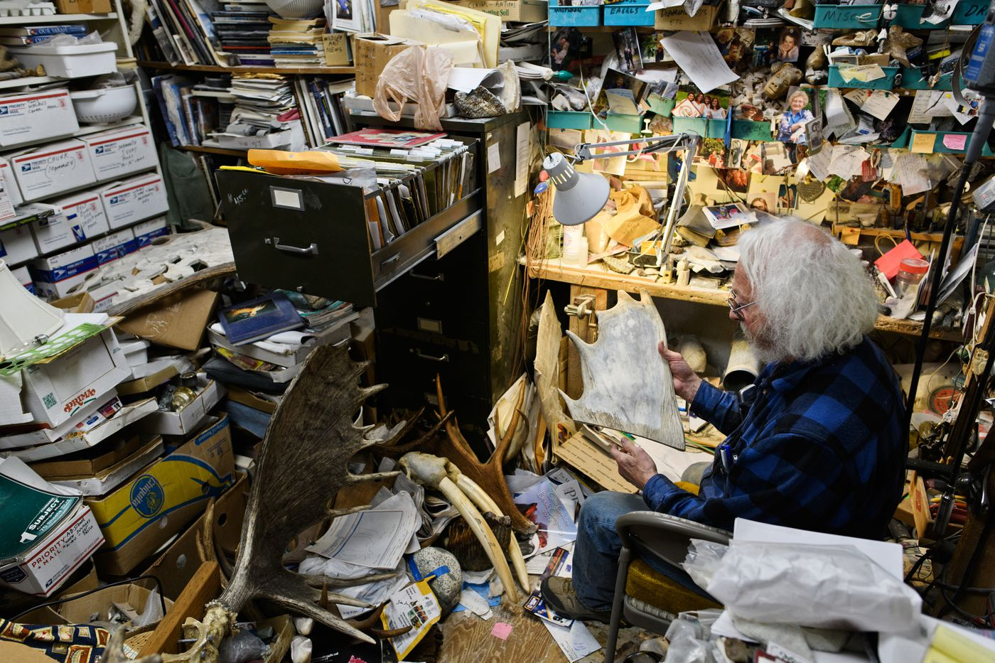 Tom Cooper's carving room is filled with items from decades of operating Alaska Horn and Antler on the Sterling Highway in Soldotna. (Marc Lester / ADN)