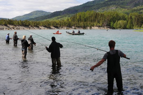 Anglers try their luck while fishing for red salmon on opening day of fishing below the Russian River Ferry crossing on the Kenai River on Sunday, June 11, 2017. (Bill Roth / ADN)