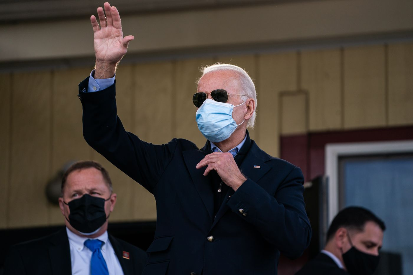 Former vice president Joe Biden stops by a restaurant in Philadelphia. Washington Post photo by Demetrius Freeman