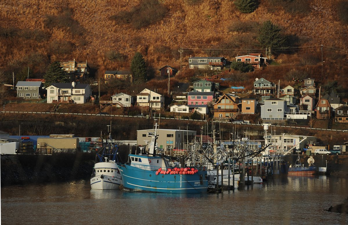 Fishing boats rest at the dock in the boat harbor in Kodiak. (Bob Hallinen /ADN)