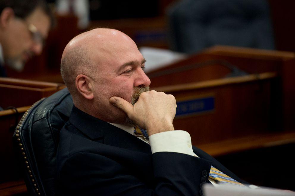 Rep. Adam Wool, D-Fairbanks, sits on the House floor last year. (Marc Lester / ÅDN)