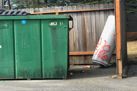 A water heater that business owner Chad Winberg found dumped on his property later appeared at a different dumpster in Anchorage. Winberg picked it up and, once again, took it to the driveway of the man who dumped it. (Chad Winberg photo.)