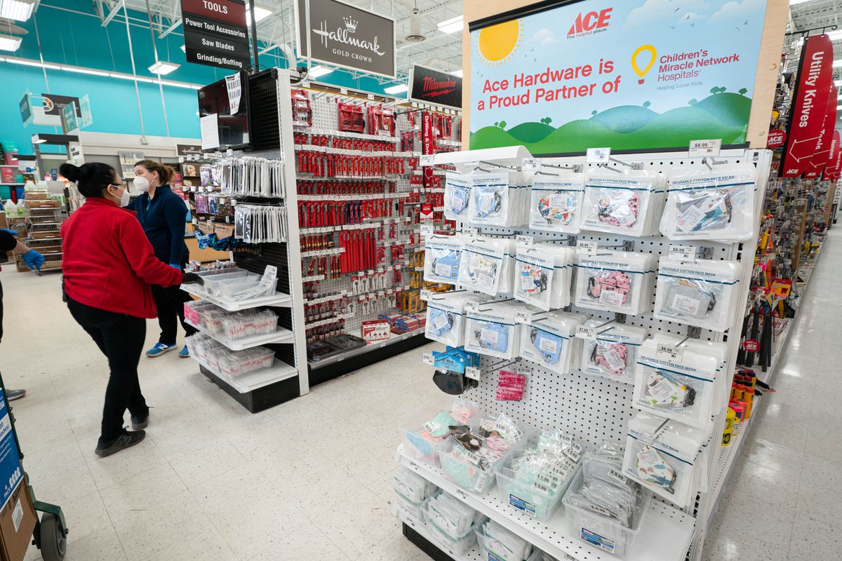 Face masks for sale at Ace Hardware in East Anchorage on Wednesday, May 13, 2020. (Loren Holmes / ADN)