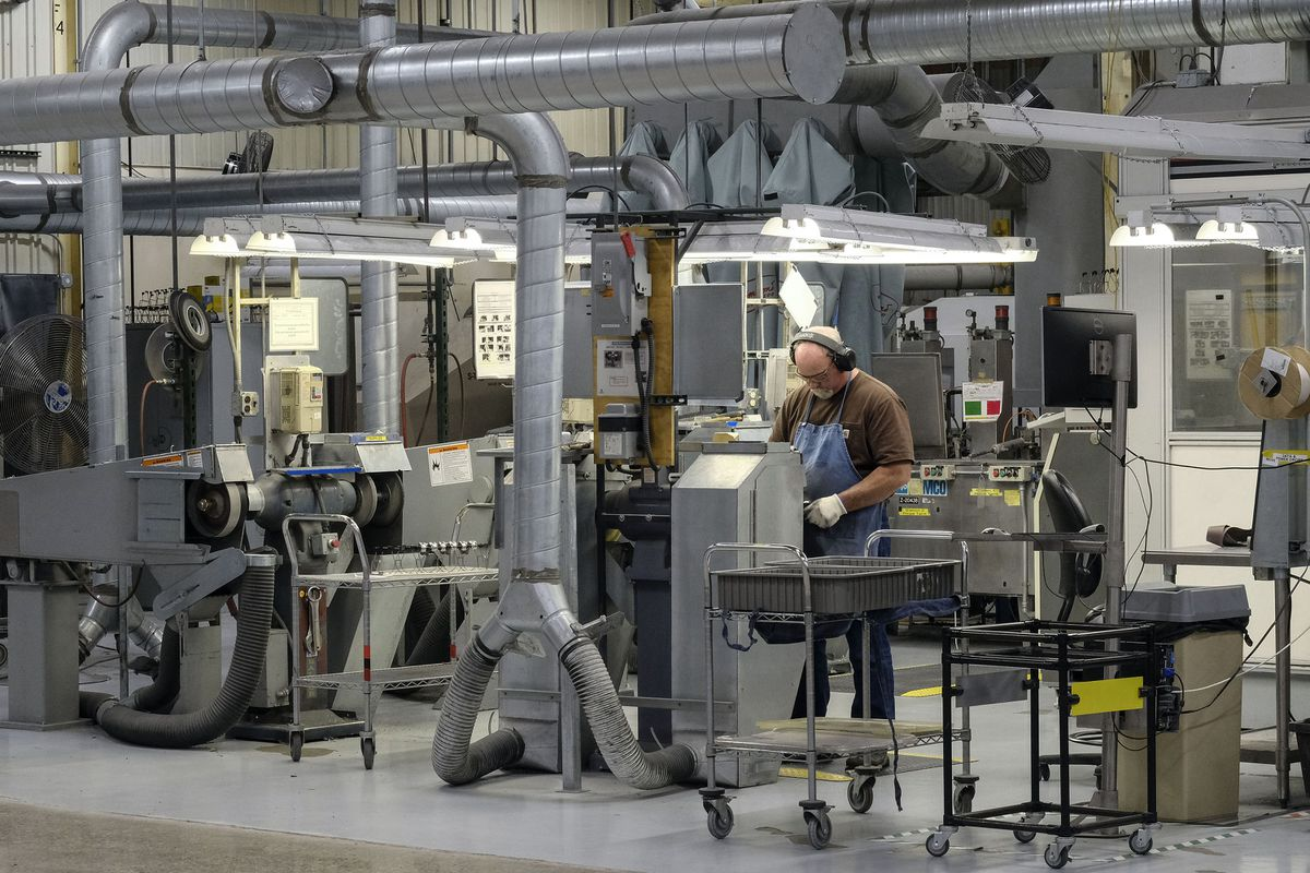 An employee works last month at Zimmer Biomet in Warsaw, Ind. (Photo for The Washington Post by AJ Mast)