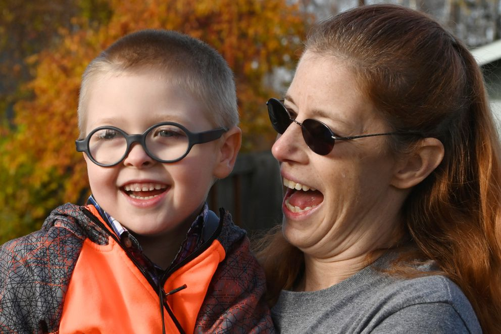 Danna Hoellering shares a moment with her six-year-old grandson Daniel on Sunday, Oct. 11, 2020. (Bill Roth / ADN)