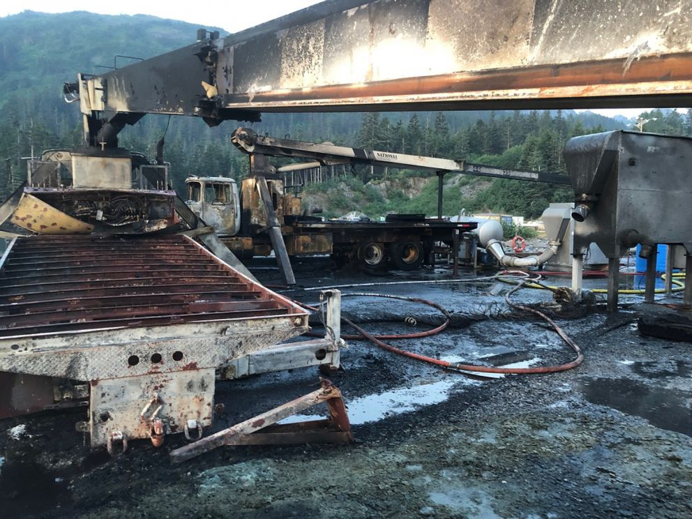 Damage is pictured after an explosion and fire at Delong Dock in Whittier, Alaska, July 8, 2019. The pier, including three cranes, nearby structures, vehicles and the commercial fishing vessel Alaganik were damaged in the fire. (Photo courtesy of Coast Guard Sector Anchorage)