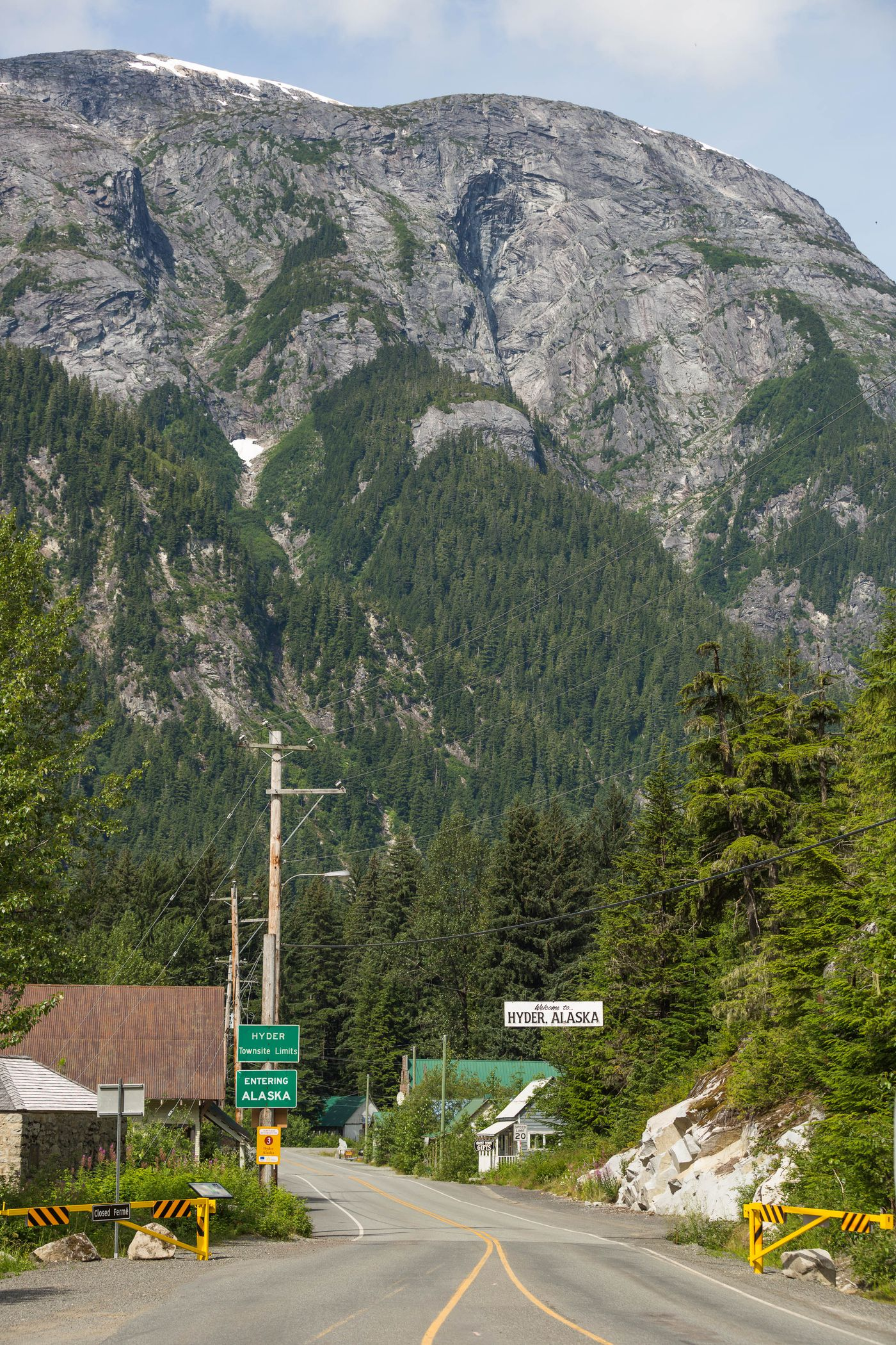 The US-Canada border at Hyder, Alaska on July 1, 2015. The town, with 84 year-round residents, is closely tied to nearby Stewart, British Columbia.