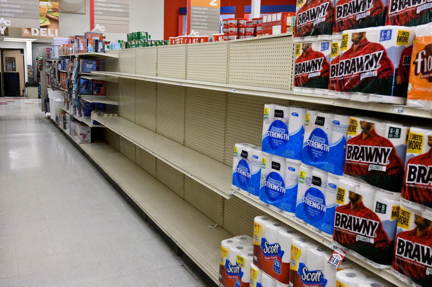 AC grocery store shelves in Nome are out of toilet paper stock on March 15, 2020. (Marc Lester / ADN)