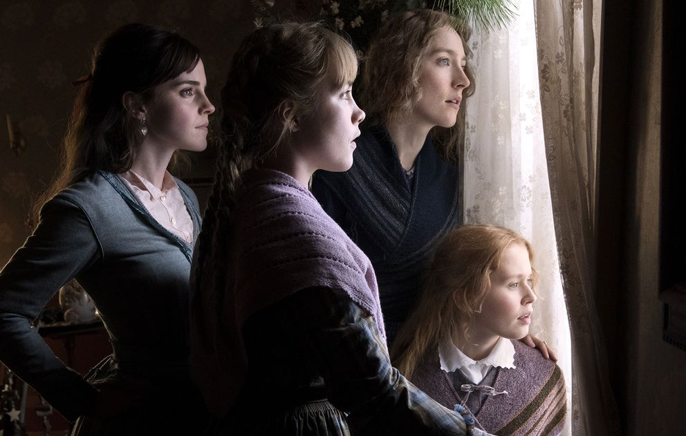 The March sisters of 'Little Women, ' played by, from left, Emma Watson (Meg), Florence Pugh (Amy), Saoirse Ronan (Jo) and Eliza Scanlen (Beth). (Wilson Webb/Columbia Pictures)