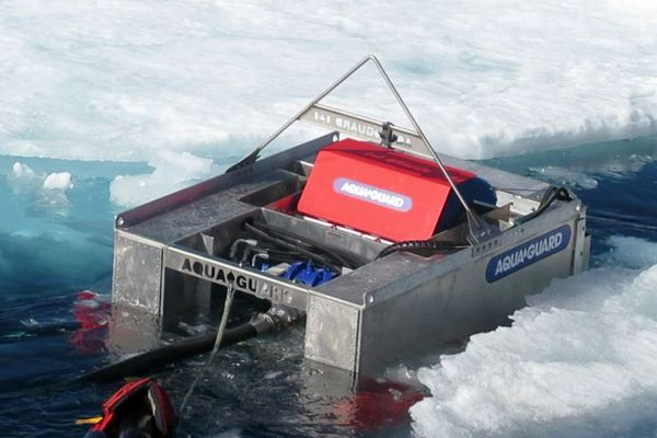 The RotoX oil skimmer is tested in the icy Beaufort Sea on July 29, 2017. (U.S. Coast Guard)