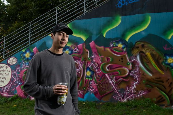 Spray paint artist Andrew Garcia got his start with graffiti in Texas. Now Garcia is increasingly being asked to create murals for Joint Base Elmendorf-Richardson and in Anchorage neighborhoods. Photographed on September 24, 2020. (Marc Lester / ADN)