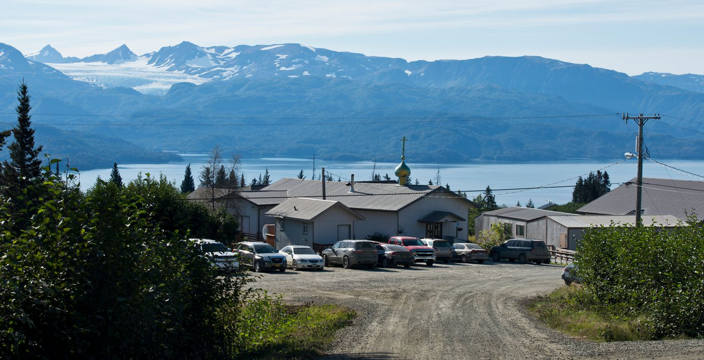 A church and school buildings are at the center of the village of Voznesenka at the head of Kachemak Bay. Photographed on Friday, September 2, 2016. (Marc Lester / Alaska Dispatch News)