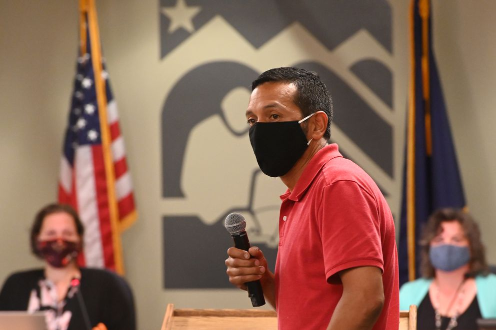 Armando Soria testified in support of opening schools 5 days a week and extending the school resource officer (SRO) program during an ASD School Board work session on Tuesday, July 21, 2020. (Bill Roth / ADN)