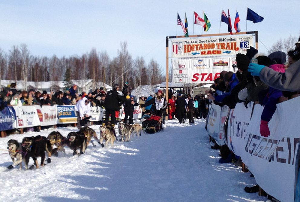 Anna Berington takes off from the start chute in Willow during the 2013 Iditarod restart. (ADN archive)