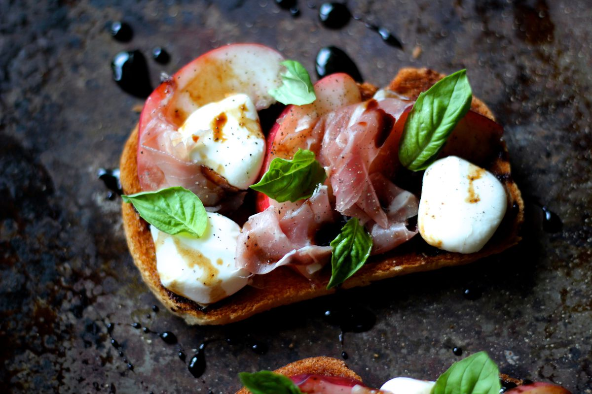 Bruschetta with nectarines and prosciutto (Maya Wilson / Alaska from Scratch)