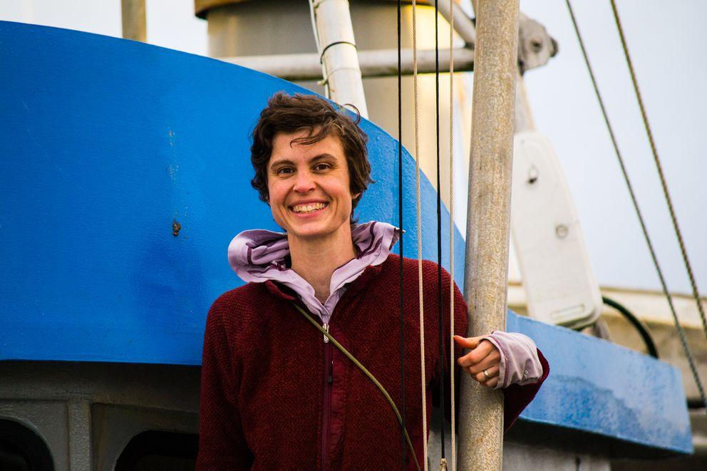 Jacquie Foss aboardher boat, the F/V Axel. (Alyssa Russell / Alaska Longline Fishermen's Association)