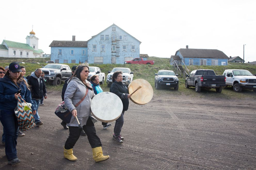 Commemorating the walk from the village to the evacuation site at East Landing. (Lisa Hupp/USFWS)